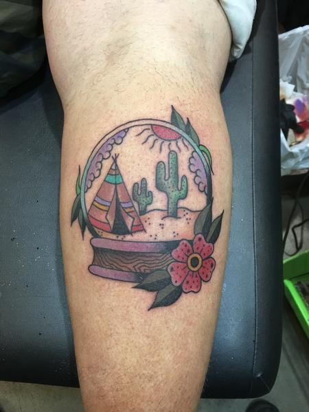 Tattoos - Desert Globe w/ Flowers - 120613