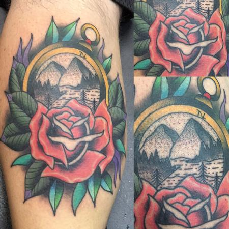 Tattoos - Scenic Compass w/ a Rose - 120574