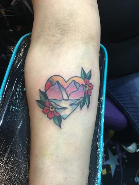 Tattoos - Mountain Scene inside Heart w/ Flowers - 120575