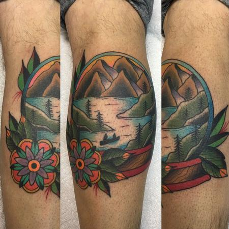Tattoos - Lake/Mountain Scenic Globe - 120552