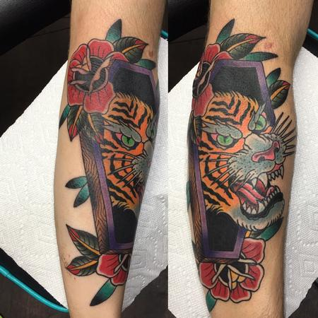 Tattoos - Tiger in Coffin w/Roses - 120571