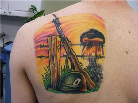 Tattoos - mushroom cloud and m-1 rifle - 98468
