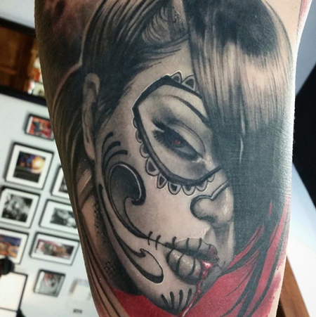 Day of the Dead Sugar Skull Girl Tattoo Design