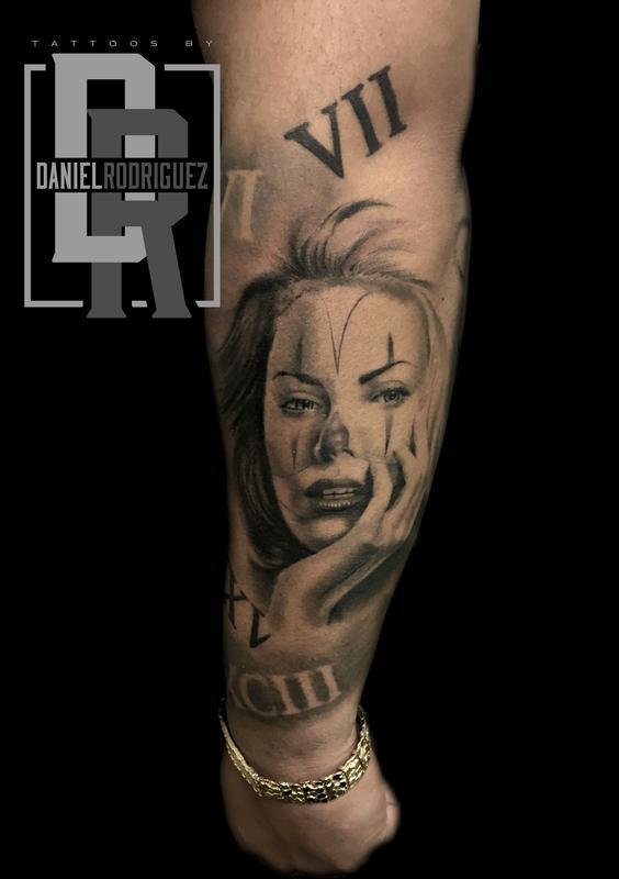 Chicano art clown girl by daniel rodriguez tattoonow for Chicano clown girl tattoos