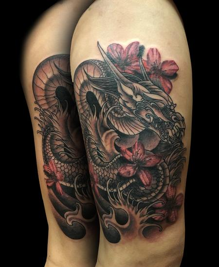 Tattoos - Dragon and Cherry blossoms - 114032