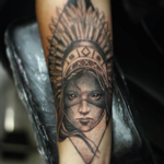 Woman with Headdress Tattoo Design Thumbnail