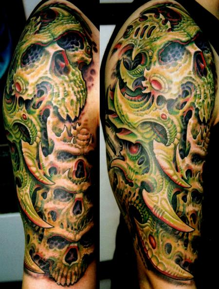 Tattoos - Biomech Skulls Half Sleeve - 112502
