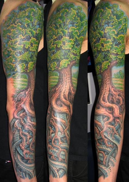 Tattoos - Biomech Tree Sleeve - 113930