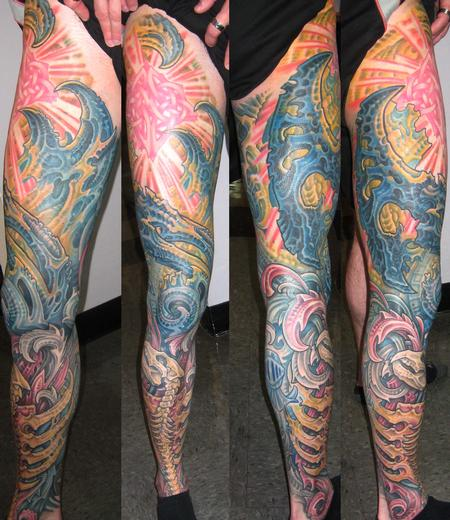 Biomech Leg Sleeve Tattoo Design