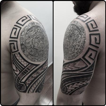 Freehand Tribal around Aztec Tattoo Design Thumbnail
