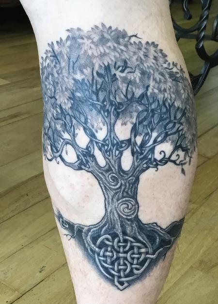 Tattoos - Black and grey Celtic Tree of Life - 127074