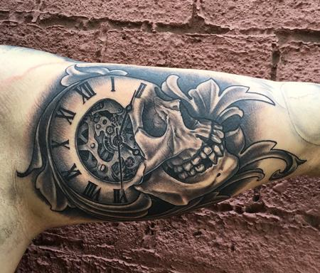 Tattoos - Black and Grey Skull, Clock, and Filigree - 127077
