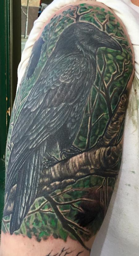 Tattoos - Color Raven Cover Up Half-Sleeve - 127078
