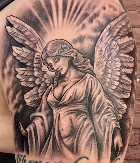 Tattoos - Black and Grey Angel Pin Up - 127080