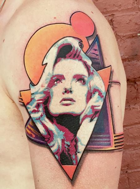 80s Barbarella Tattoo Design Thumbnail