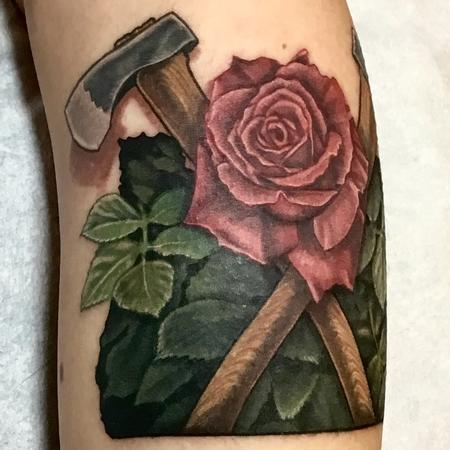 Tattoos - Oregon Timbers Logo axes and rose - 130015