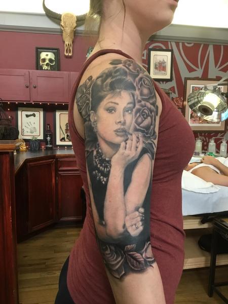 Audrey Hepburn Breakfast at Tiffany's in progress Tattoo Design Thumbnail