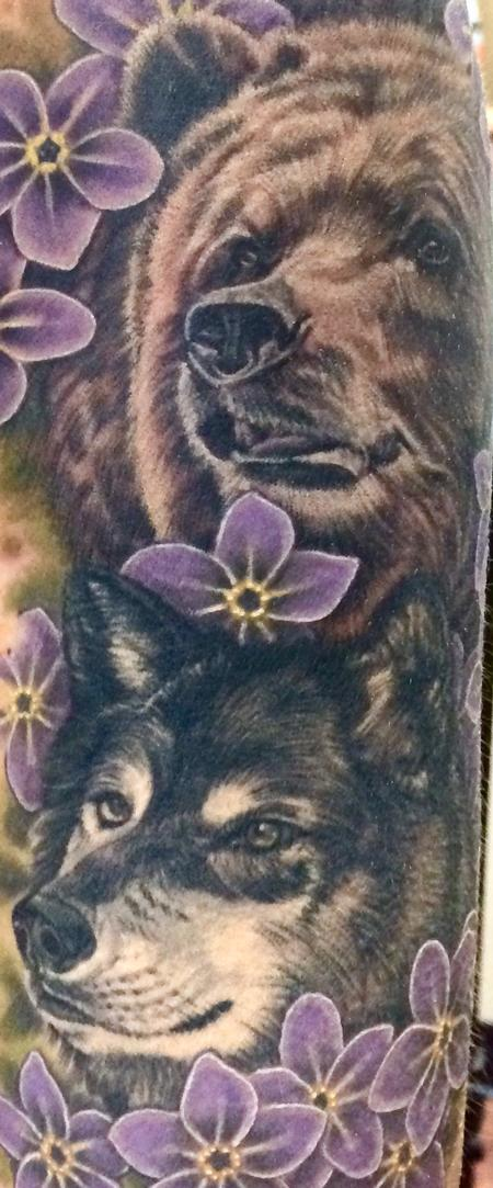 Tattoos - Wildlife and floral half sleeve - 109641