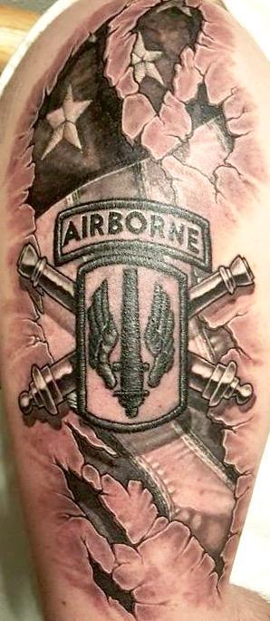 Airborne insignia and flag skin rip Tattoo Design