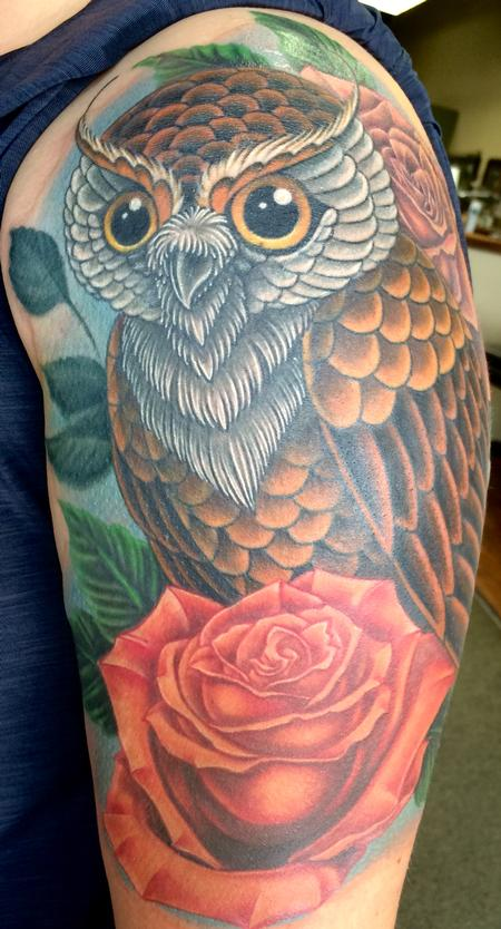 Tattoos - Owl and roses - 116942