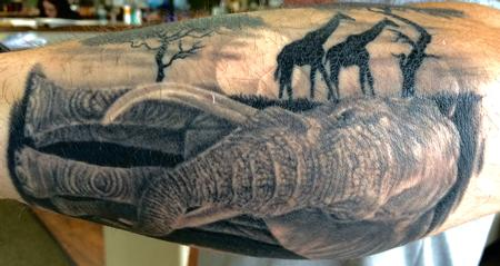 Tattoos - Elephant and giraffe - 116946