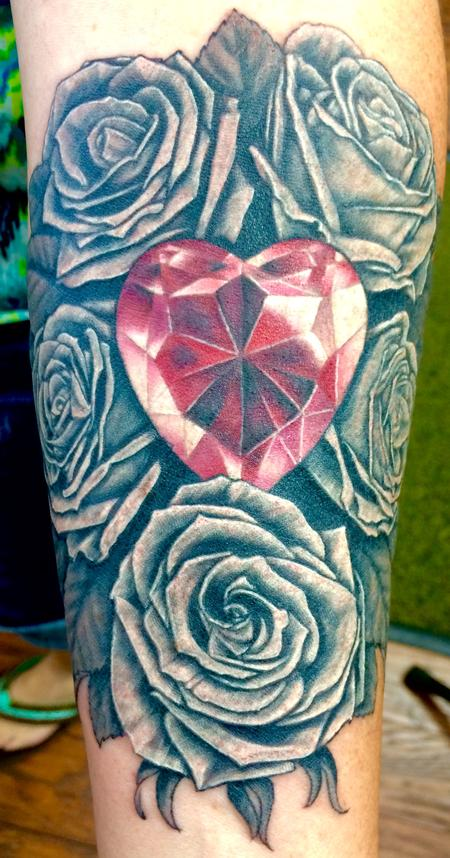 Tattoos - Color jewel heart and black and grey roses - 122600