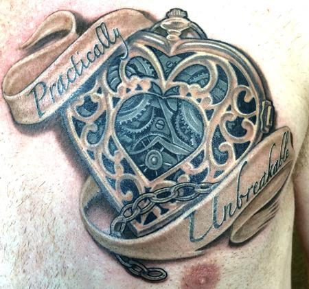 Tattoos - Clockwork heart and banner in color - 122604