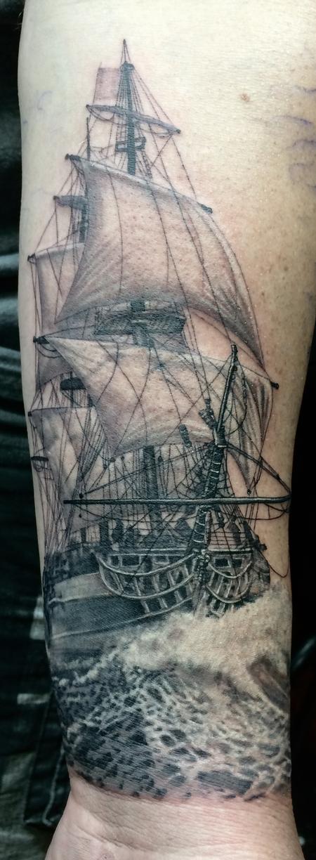 Black and grey sailing ship Tattoo Design Thumbnail