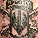 Airborne insignia and flag skin rip Tattoo Design Thumbnail