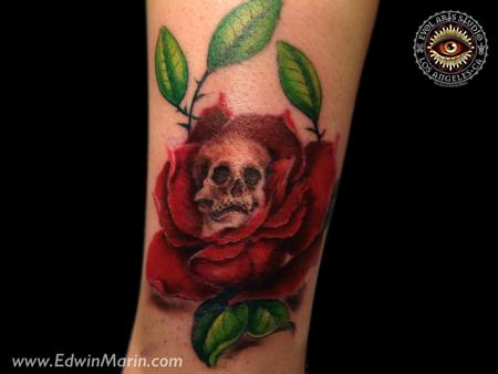 Skull Rose Tattoo Design