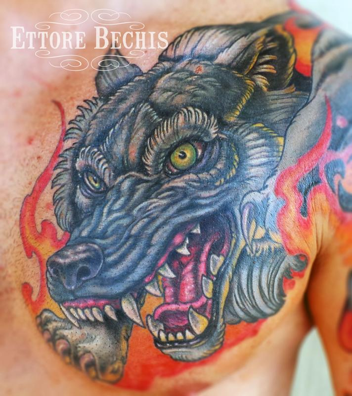 Wolf by ettore bechis tattoonow for Best tattoo shop in miami