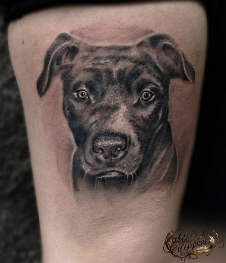 dog portrait tattoo design thumbnail. Black Bedroom Furniture Sets. Home Design Ideas