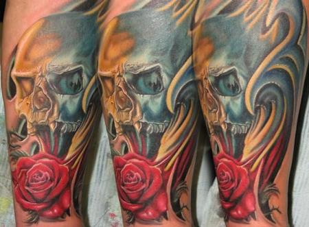 Tattoos - Color skull and rose Tattoo - 64909