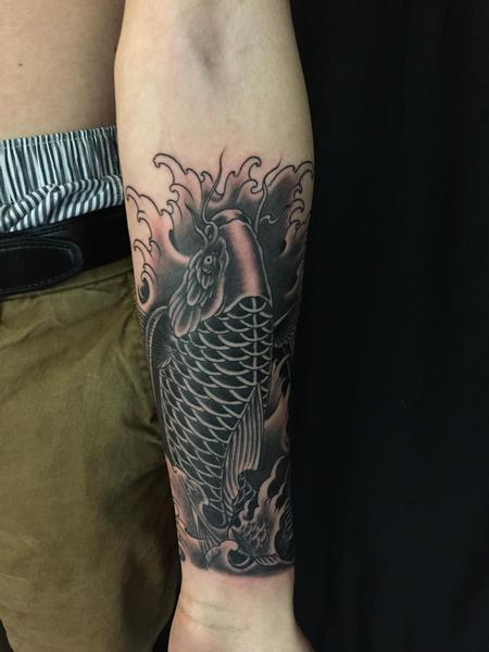 Tattoos - Black and grey koi fish - 131929