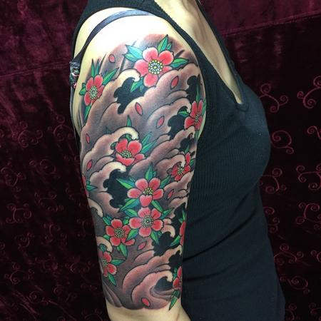 Tattoos - Waves & cherry blossom sleeve  - 122487