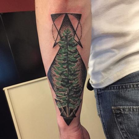 Pine tree with geometric background  Tattoo Design Thumbnail