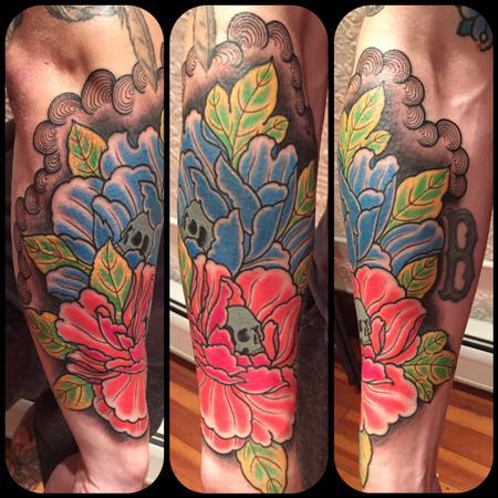 Tattoos - Skulls in peony  - 129150
