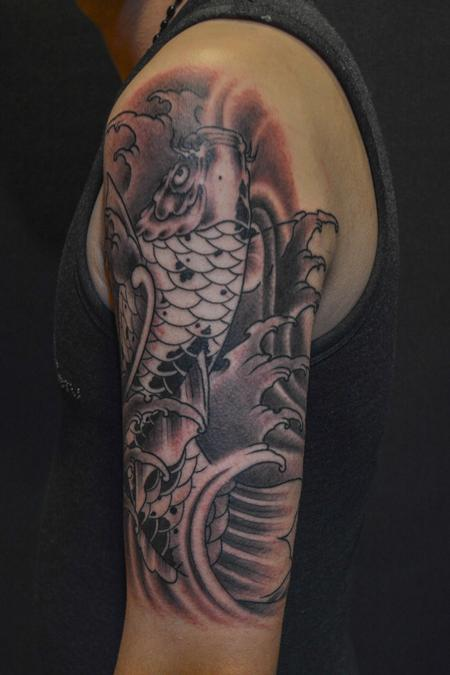 Tattoos - Black and Grey Koi Fish with Waves - 101294
