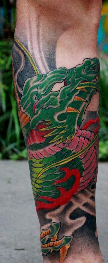 Tattoos - Green Asian Dragon - 101144