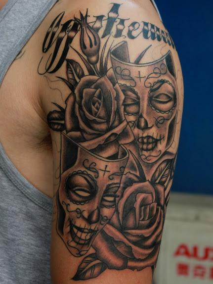 Black and Grey Mask Tattoo Tattoo Design Thumbnail