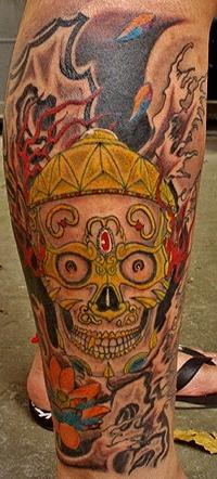Golden Skull Tattoo Design Thumbnail