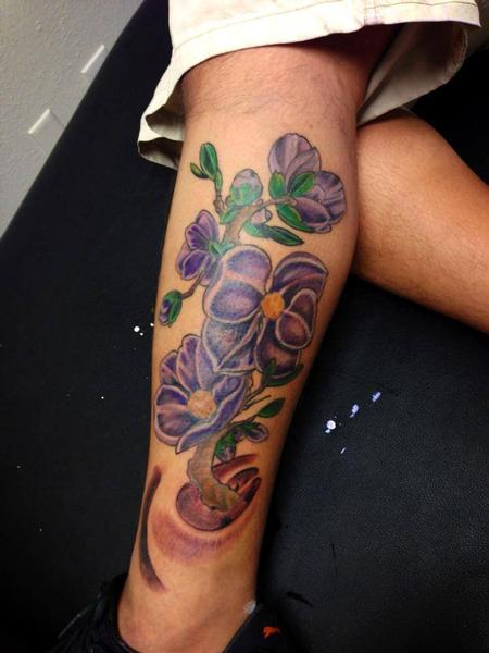 Purple Flowers Tattoo Thumbnail