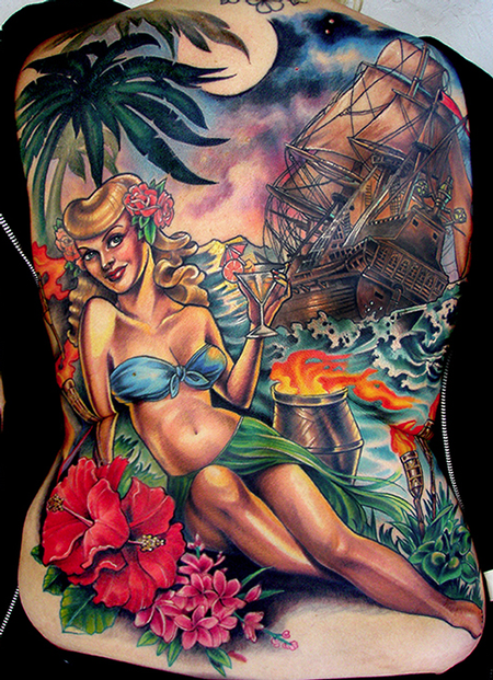Hannah Aitchison - Bright Color Beach Back Tattoo