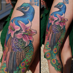 Peacock & Lilies Tattoo Design Thumbnail