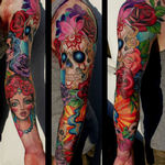 Skull and Flowers Sleeve Tattoo Design Thumbnail