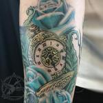 Pocket watch, Nature and  Blue Roses Tattoo Design Thumbnail