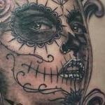 Black and Grey Day of the Dead Girl Tattoo Design Thumbnail