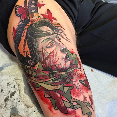 Samurai Woman Tattoo Design