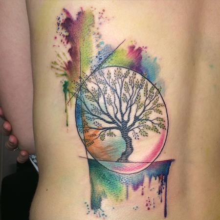 olivetree watercoolor Tattoo Design Thumbnail