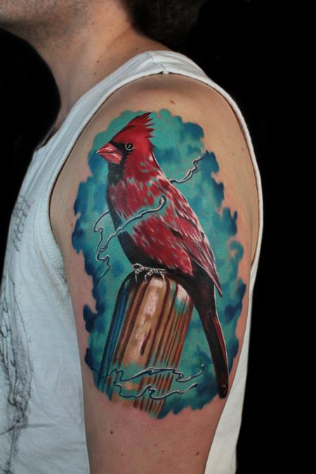 Tattoos - RED CARDINAL AND BASEBALL BAT - 101484